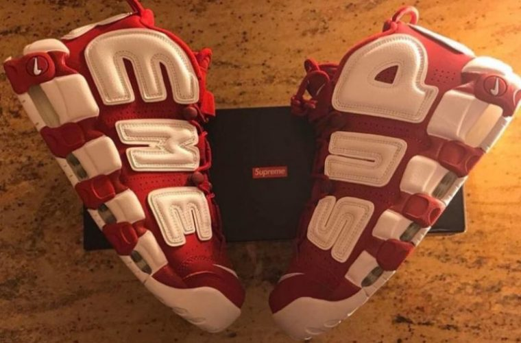 Supreme Air More Uptempo Red