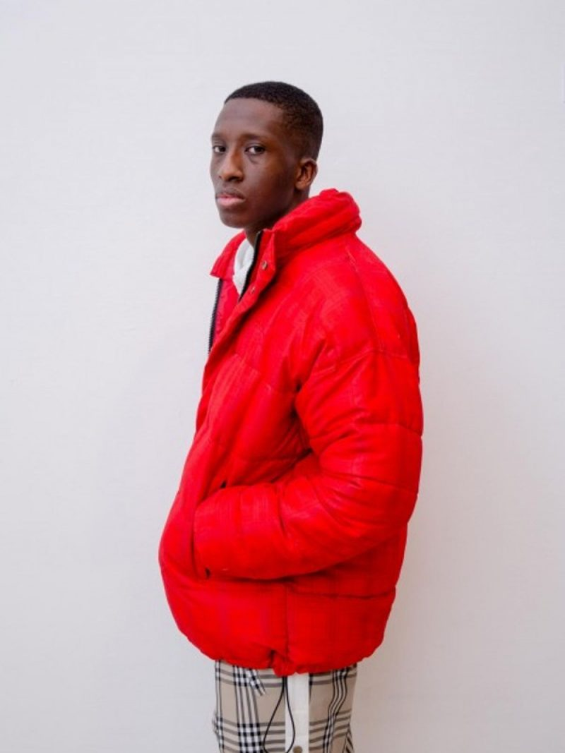 ANDREA CREWS x Schott Puff Jacket Red